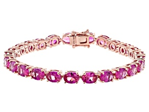 Pink lab created sapphire 18k rose gold over silver tennis bracelet 23.10ctw