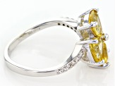 Yellow Golden Apatite Sterling Silver Ring 3.02ctw