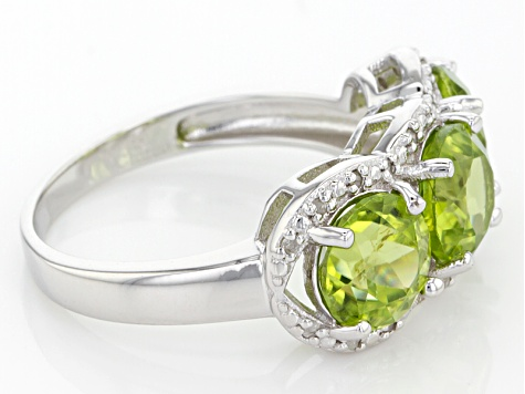 Green Peridot Sterling Silver Ring 4.13ctw