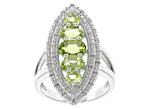 Green Peridot Sterling Silver Ring 2.45ctw
