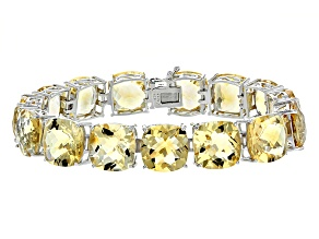 Yellow Citrine Sterling Silver Bracelet 85.00ctw