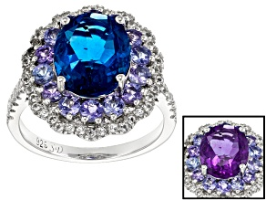 Blue Color Change Fluorite Sterling Silver Ring 4.47ctw