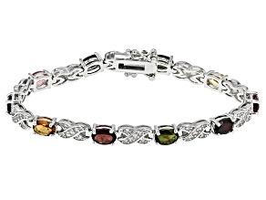 Multicolor Tourmaline Sterling Silver Bracelet 7.75ctw