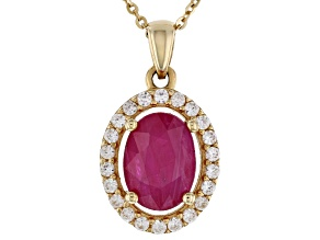 Red Burma Ruby 10k Yellow Gold Pendant With Chain 2.05ctw