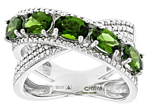 Green Chrome Diopside Sterling Silver Ring 2.50ctw