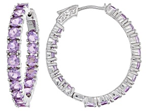 Rose de France Amethyst  Rhodium Over Sterling Silver Hoop Earrings 6.80ctw