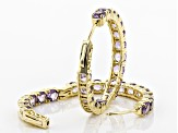 Purple amethyst 18k yellow gold over silver earrings 7.23ctw