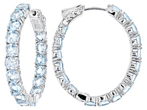 Sky Blue Topaz Rhodium Over Sterling Silver Hoop Earrings 10.20ctw