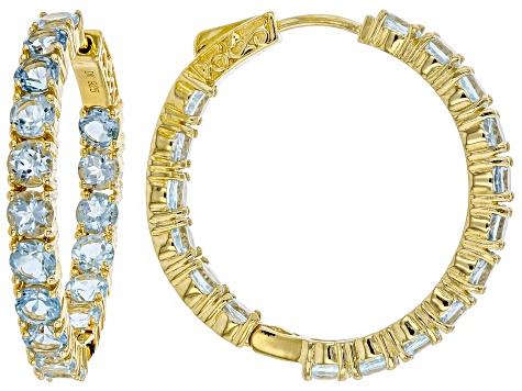 Sky Blue topaz 18k yellow gold over silver hoop earrings 9.52ctw