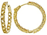 Yellow golden citrine 18k yellow gold over silver hoop earrings 7.23ctw