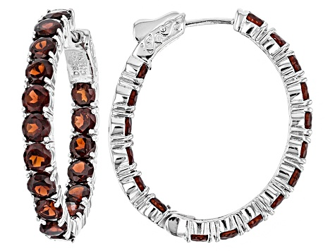 Red Garnet Sterling Silver Hoop Earrings 10.20ctw