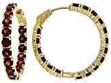 Red garnet 18k gold over silver earrings 9.83ctw