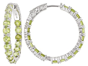 Green Peridot Rhodium Over Sterling Silver Hoop Earrings 8.84ctw