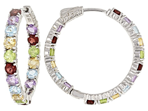 Multi-Gem Sterling Silver Hoop Earrings 8.56ctw