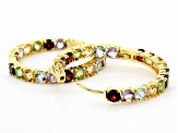 Multi-gem 18k gold over silver hoop earrings 8.56ctw