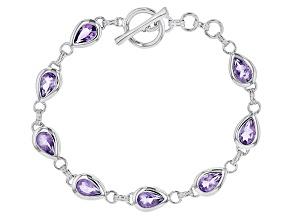 Purple Amethyst Sterling Silver Bracelet 6.80ctw