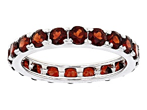 Red Garnet Rhodium Over Sterling Silver Eternity Band Ring 4.40ctw