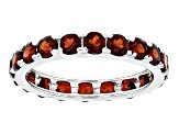 Red Garnet Sterling Silver Eternity Band Ring 4.40ctw
