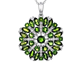 Green Chrome Diopside Sterling Silver Pendant With Chain 6.61ctw