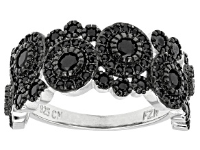 Black Spinel Sterling Silver Ring 1.61ctw