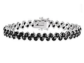 Black Spinel Rhodium Over Sterling Silver Bracelet 18.50ctw