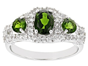 Green Chrome Diopside Rhodium Over Sterling Silver Ring 1.75ctw