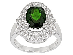 Green Chrome Diopside Sterling Silver Ring 2.75ctw