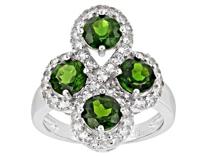 Green Chrome Diopside And White Zircon Sterling Silver Ring 3.00ctw