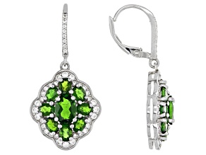 Green Chrome Diopside Rhodium Over Sterling Silver Earrings 5.40ctw
