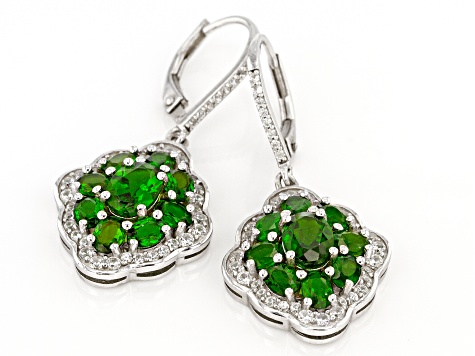 1.5 Ct Chrome Diopside Lever Back Earrings Rhodium Plated Sterling Silver