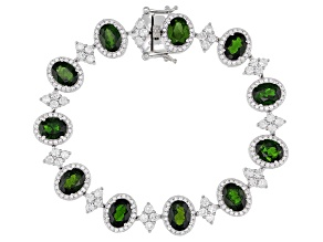 Green Chrome Diopside Rhodium Over Sterling Silver Bracelet 20.30ctw