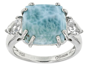 Blue Larimar Sterling Silver Ring 1.05ctw