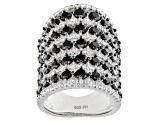Black Spinel Sterling Silver Ring 4.81ctw
