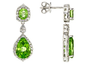 Green Peridot Rhodium Over Sterling Silver Earrings 6.10ctw