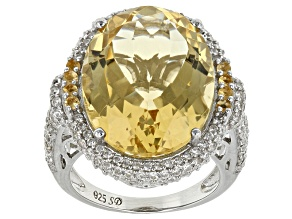 Yellow Citrine Sterling Silver Ring 16.38ctw