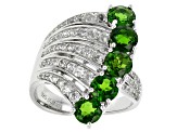 Green Chrome Diopside And White Zircon Sterling Silver Ring 4.05ctw