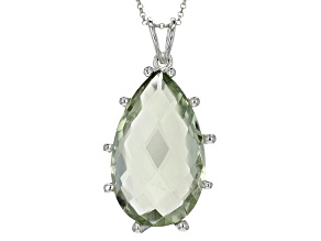 Green Prasiolite Sterling Silver Pendant With Chain 17.00ct