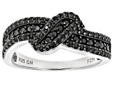 Black Spinel Sterling Silver Ring .76ctw