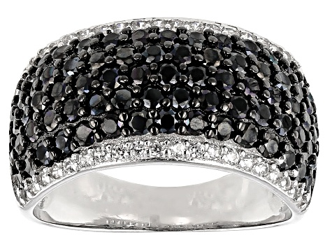 Black Spinel Sterling Silver Ring 2.56ctw