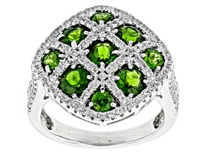 Green Chrome Diopside And White Zircon Sterling Silver Ring 2.75ctw