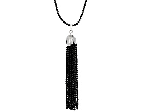 Black Spinel Rhodium Over Sterling Silver Necklace 100.00ctw