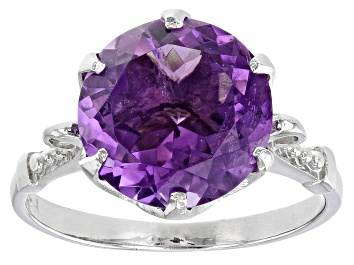 Picture of Purple Amethyst Rhodium Over Sterling Silver Ring 5.00ct