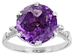 Purple Amethyst Rhodium Over Sterling Silver Ring 5.00ct