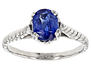 Blue Kyanite Rhodium Over Sterling Silver Ring 1.00ct