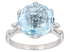 Blue Topaz Rhodium Over Sterling Silver Ring 7.00ct