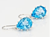 Swiss Blue Topaz Rhodium Over Sterling Silver Earrings 18.00ctw