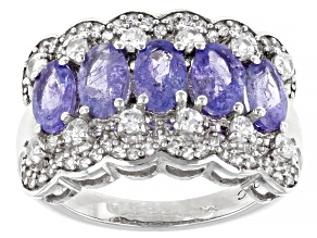 Blue Tanzanite Rhodium Over Sterling Silver Ring 3.15ctw