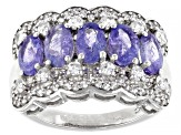 Blue Tanzanite Sterling Silver Ring 3.15ctw