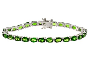 Green Chrome Diopside Rhodium Over Sterling Silver Bracelet 12.20ctw