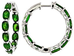 Green Chrome Diopside Rhodium Over Sterling Silver Hoop Earrings 10.50ctw
